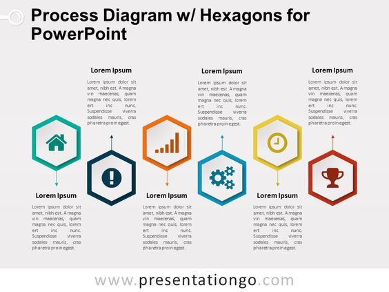 Free semi-cycle diagram for PowerPoint. Colored infographic design with 5 circular stages. Editable graphics with text placeholder. Use this diagram to show sequential steps in a task, process, or workflow. Can also be used as a timeline or to represent a series of interconnected ideas. Shapes are 100% editable: colors and sizes can be easily changed. Includes 2