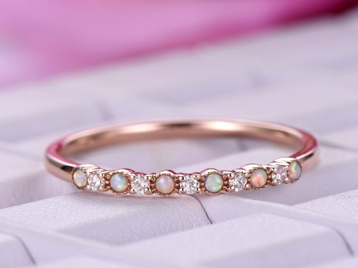 Opal/Diamond Wedding Band Half Eternity Anniversary Ring 14K Rose Gold