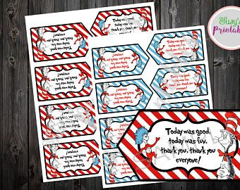 Dr Seuss Baby Shower Favor Tags, Dr Seuss Cat in the Hat Party Tags, Dr Seuss Birthday Thank you tags, Printable Thank you tags,