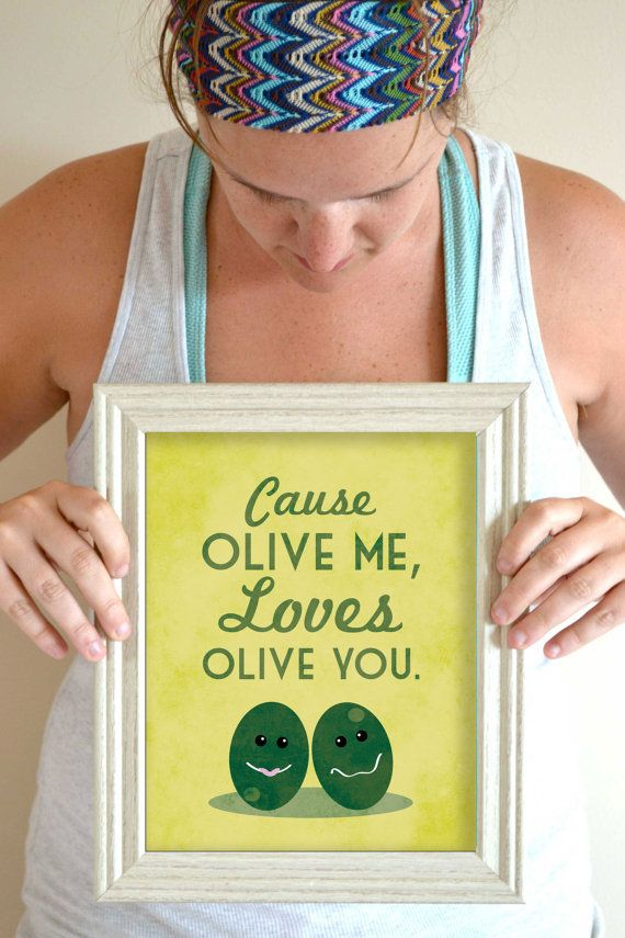 Funny Kitchen Art Print Olive Quote Poster by SmartyPantsStudio, $20.00