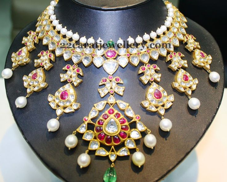 Jewellery Designs: Wide Kundan Pachhi Necklace