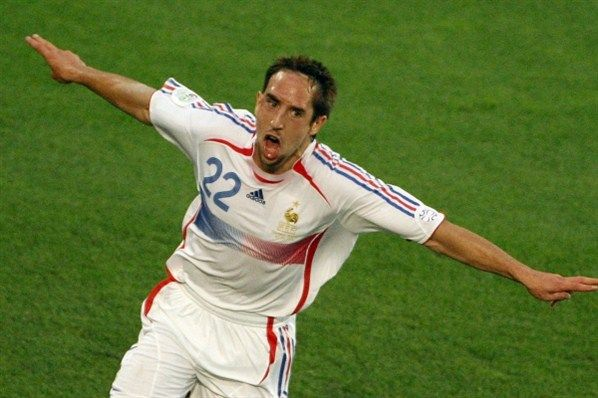 Franck Ribéry, France (2006–2014, 81 caps, 16 goals). Franck Ribery is selected by Raymond Domenech to attend the 2006 FIFA World Cup in Germany. He had an excellent World Cup including a goal against Spain which allowed France to revive in that match.