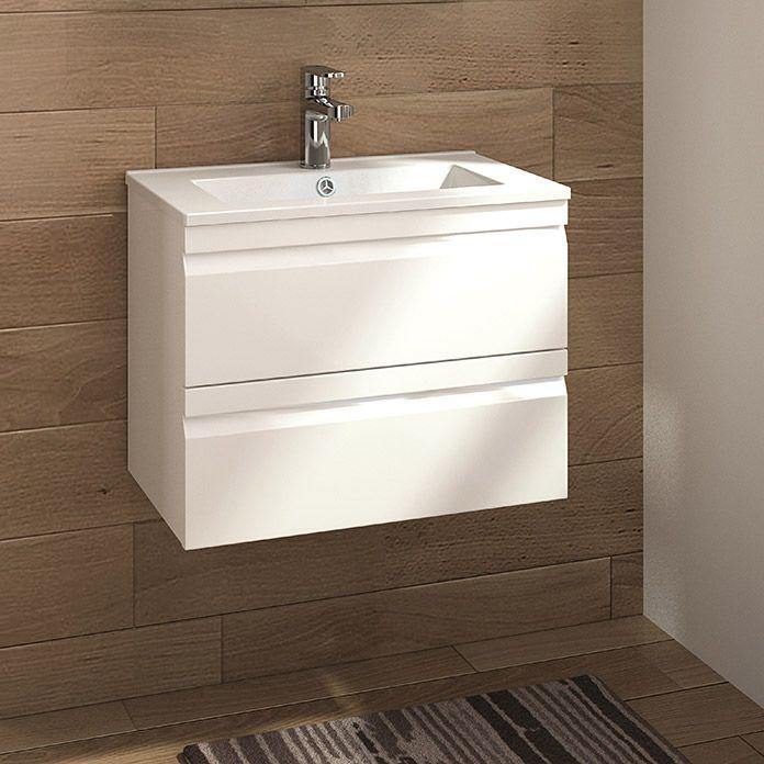 Allibert Badmobel Set Accent 60 Cm 2 Tlg Weiss Glanzend Unterschrank Waschtisch Holz Unterschrank Unterschrank Waschbecken