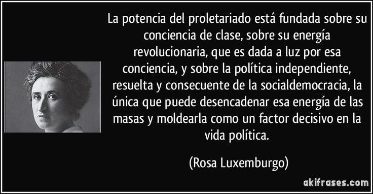 La potencia del proletariado está fundada sobre su conciencia de clase, sobre su energía revolucionaria, que es dada a luz por esa conciencia, y sobre la política independiente, resuelta y consecuente de la socialdemocracia, la única que puede desencadenar esa energía de las masas y moldearla como un factor decisivo en la vida política. (Rosa Luxemburgo)