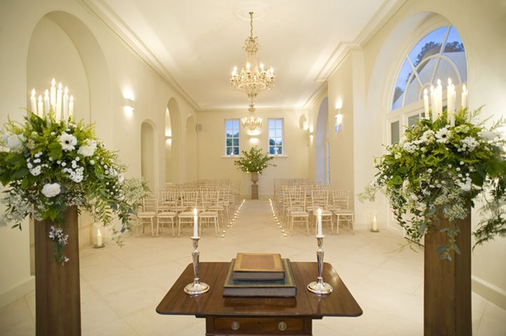 Candles and warmth in Iscoyd Park's Ceremony Room in Winter.