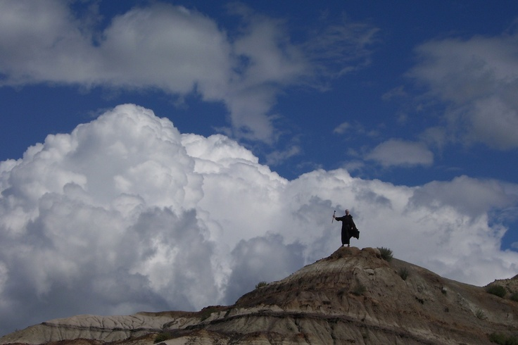 OK - you can't really see Mark in his monk cape in this picture but it was just so awesome with the clouds & all... it's like he's channeling Moses!  I can't take credit for anything but the cape.  God gets full credit for the amazing clouds & the badlands scenery!