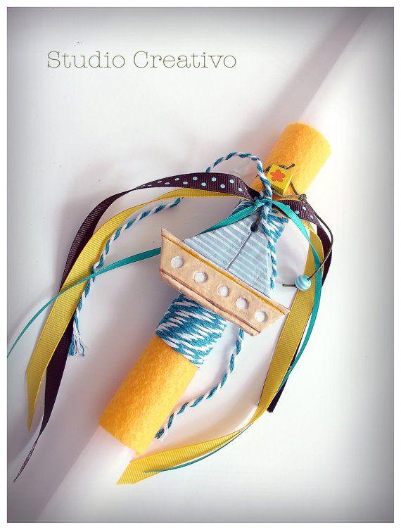 """Easter Candle - """"Happy Yellow Boat II"""""""