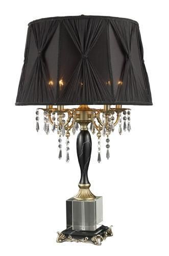 dimond d1744 mount caufield 5 light table lamp in black faux marble and egyptian crystal with