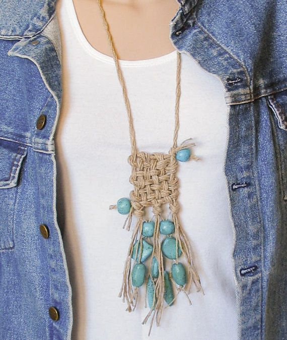 Turquoise Ethno Tribal Hand Woven Necklace by totalhandmadeD