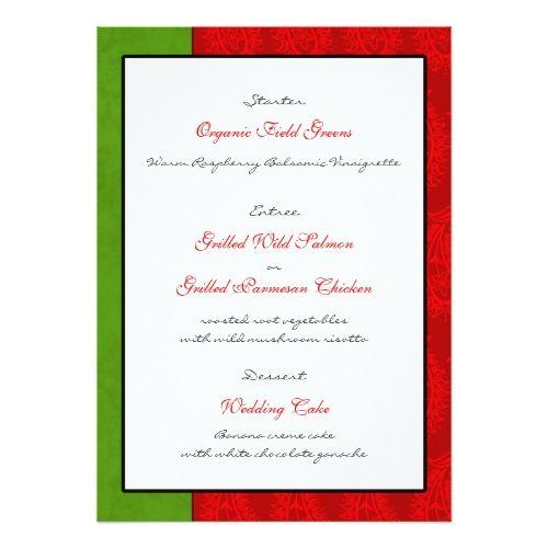 Red Paisley Peacocks Wedding Reception Menu Card