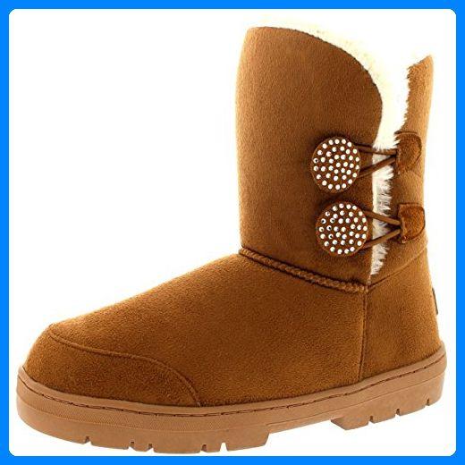 Damen Schuhe Twin Knopf Crystal Fell Schnee Regen Stiefel Winter Fur Boots - Hellbraun - 39 - AEA0181 - Stiefel für frauen (*Partner-Link)