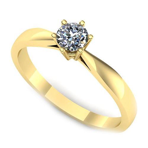 Inelul este realizat din aur galben 14k, greutate: ~2.20gr.                                     Produsul are in componenta sa: 1 x diamant, dimensiune: ~3.70mm, greutate: 0.20ct , culoare: G, claritate: VS2, forma: round
