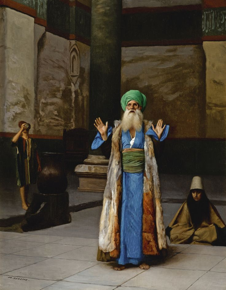 """Jean-Léon Gérôme, French, 1824 - 1904 """"A SULTAN AT PRAYER"""" signed J. L. GEROME lower left; oil on canvas; 42 by 33cm., 16.5 … 