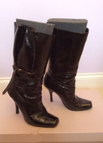 JIMMY CHOO BROWN CRUSHED PATENT LEATHER CALF LENGTH BOOTS SIZE 5.5 /38.5 - £325 Whispers Dress Agency - Womens Boots - 1