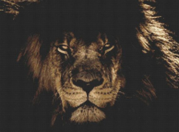 Lion Close-Up Counted Cross Stitch Pattern / Chart, Instant Digital Download  (AP372)