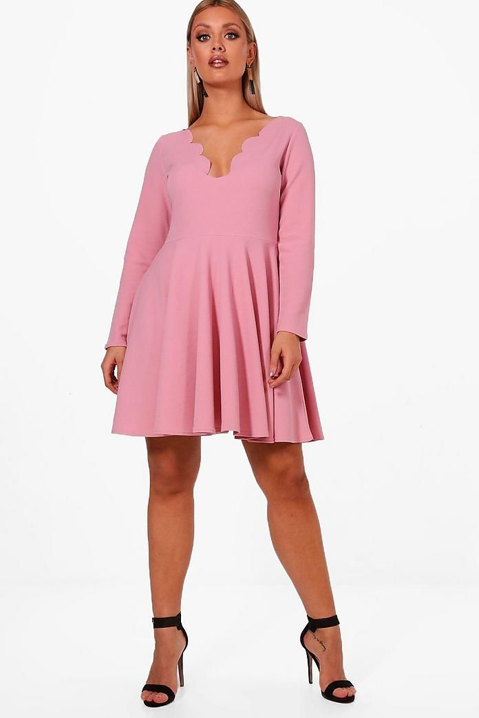 Plus Nadine Long Sleeved Scallop Skater Dress  9f504c5d38ae