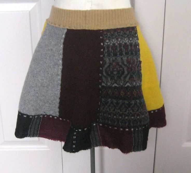 Funky wool skirt . wool skirt . made from recycled sweaters . sweater skirt by…