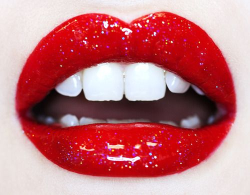 Sparkly bright red lips