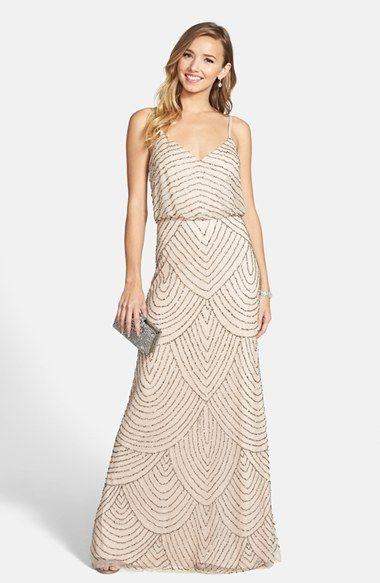 Free shipping and returns on Adrianna Papell Embellished Blouson Gown at Nordstrom.com. Scalloped lines of iridescent, metallic beads and sequins accentuate the sheer-mesh overlay of a floor-length gown.