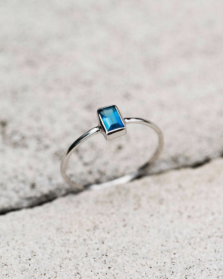 Blue Topaz Ring, White Gold Ring, Handmade Jewelry, Simple Ring, Dainty Ring, November Birthstone Ring, Engagement Ring, Flat Band Ring