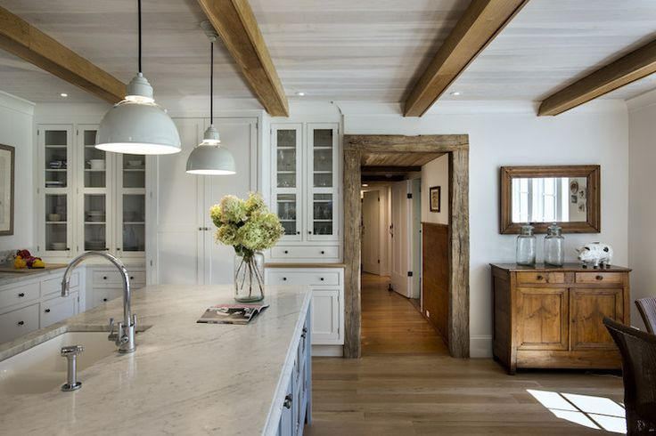 - white and gray farmhouse kitchen.