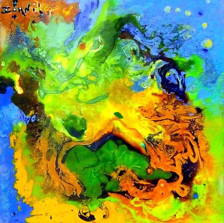 satellite-golf.jpg (Peinture),  20x20x4 cm par CHARLES CORNIL Peinture technique mixte.
