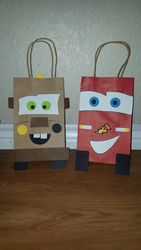 10 Lightning McQueen and Mater Party Favor Bags by EJsCreation