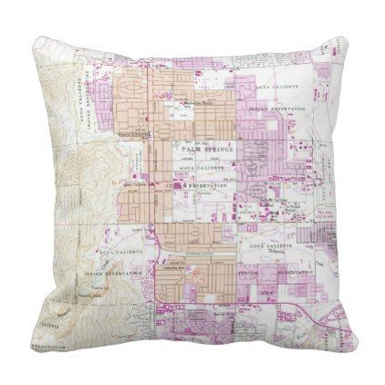Vintage Map of Palm Springs California (1957) Throw Pillow - spring gifts beautiful diy spring time new year