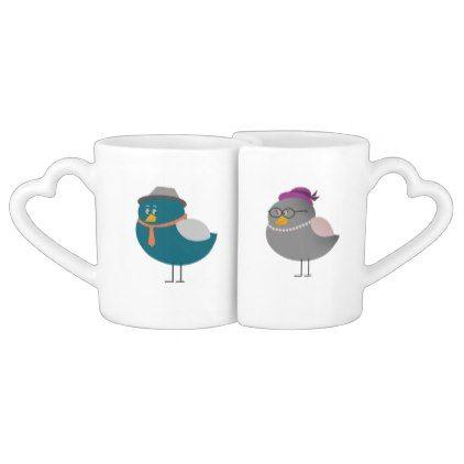 Retro Bird Love Couple Cartoon Cute Old Fashion Coffee Mug Set - home decor design art diy cyo custom