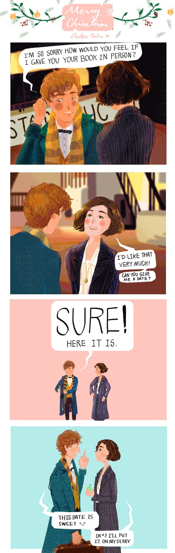 Newtina so love Tina Goldstein and Newt scamander !  Give me a date  is my new series(kinda) Lovely Newtina and fantastic beast! It's a silly dad joke, but i like it  so much. Fantastic beasts and where to find them is so good so i made this comic in gif :) This illustration was made by Asta Wu.