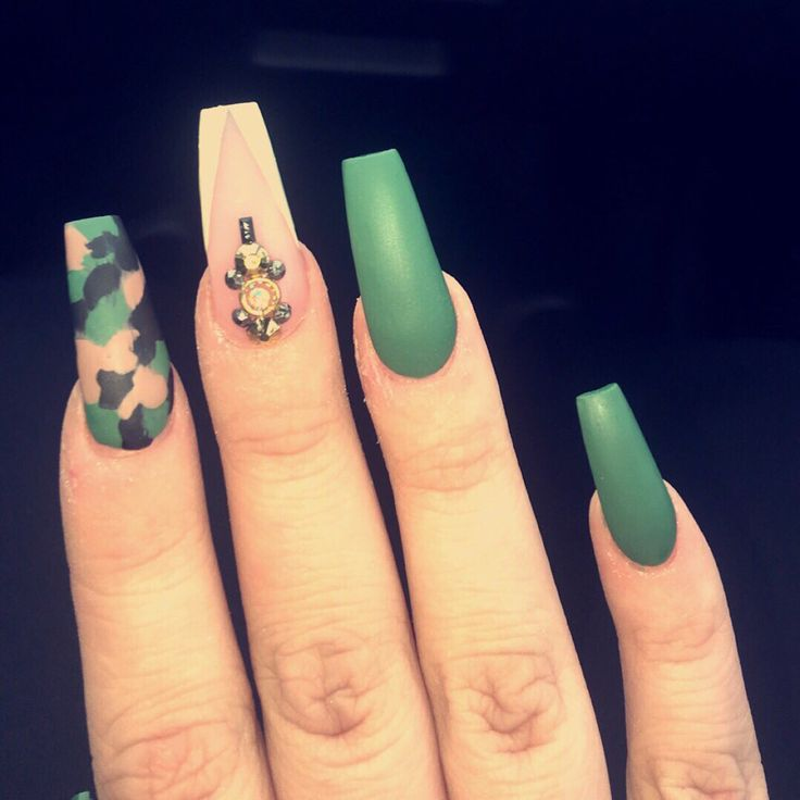 camo matte olive green acrylic nails
