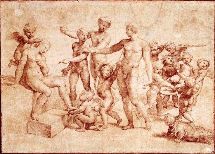 """The Wedding of Alexander & Roxane""  --  Raffaello Sanzio  --  Italian  --  Red chalk, metal point & white heightening on paper."