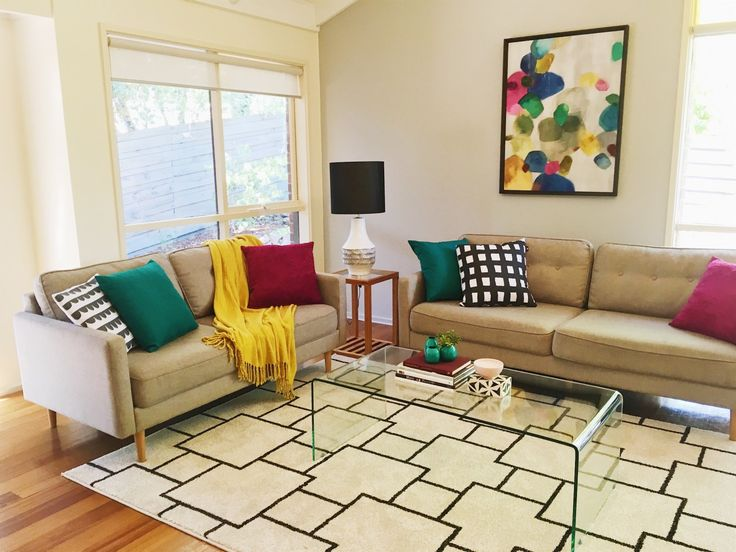 Living room with lots of colour.  Leeder Interiors  Melbourne Property Styling