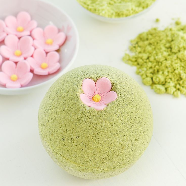 DIY Sakura Green Tea Bath Bombs
