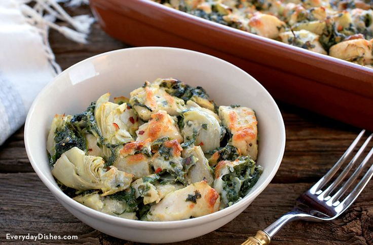 This staff-favorite baked chicken with spinach and artichoke recipe will fly out of the casserole dish!