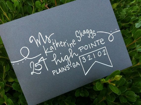 Wedding Invitations Calligraphy Unique Envelopes by GreySnailPress
