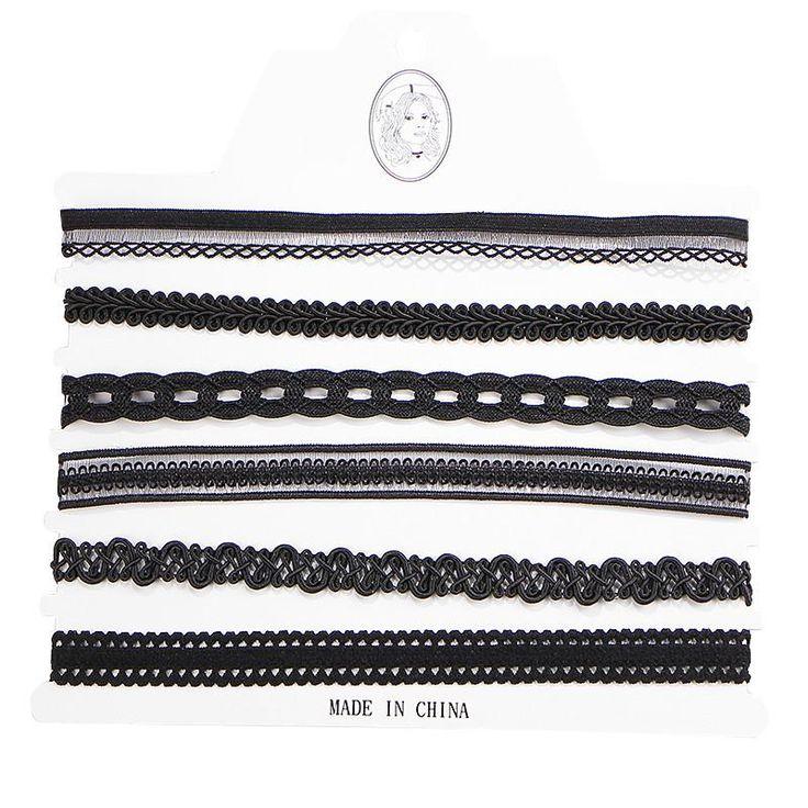 17KM Vintage Lace Tattoo Velvet Flower Choker Necklaces For Women 6 Pcs/set Pendant Necklace Fashion Girls Chocker Collares