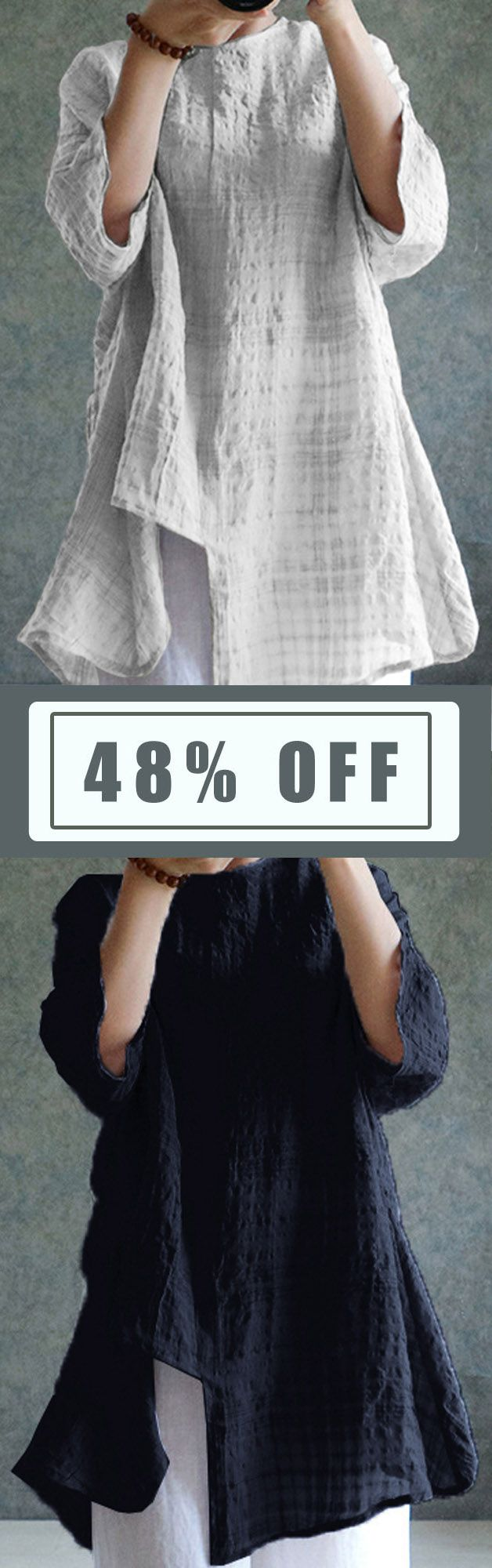 5 Colors Vintage Women Long Sleeve Plaid Asymmetrical Blouse. Brief Style, Vintage Style, Casual Style, Loose Style, Long Sleeve, O-Neck. Color:Navy,White,Army Green,Beige,Burgundy. Size:S,L,XL,XXL,XXXL,XXXXL,5XL. Buy now!  #women #blouse #fashion