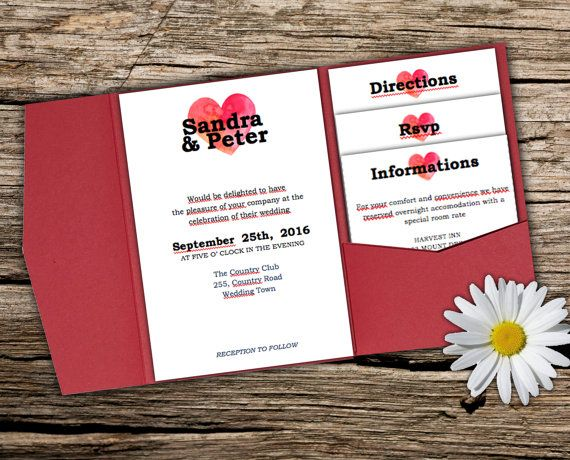 DIY Wedding pocket invitation template  INSTANT by redlinecs