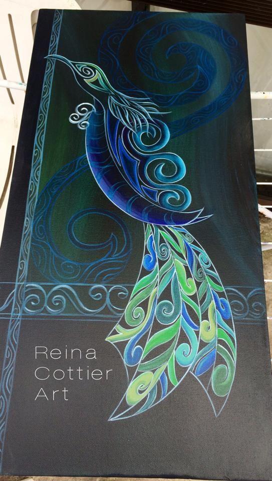 Tui (Native New Zealand bird) - painting by Reina Cottier https://www.facebook.com/reinacottierart/photos/a.580239635356001.1073741826.241982692515032/794860220560607/?type=1