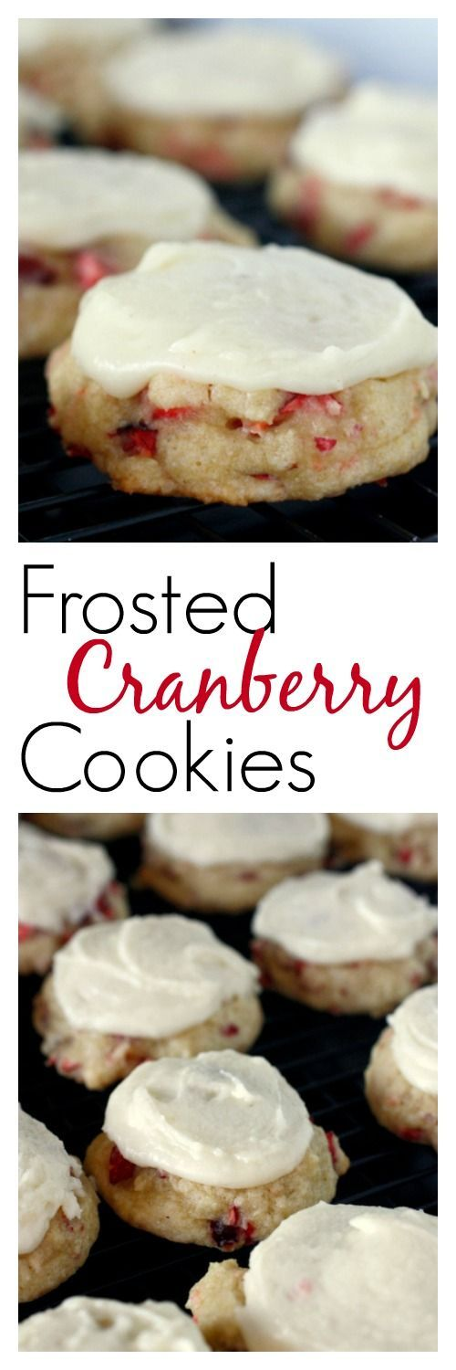 Frosted Cranberry Cookies - made with fresh cranberries, perfect for Christmas!