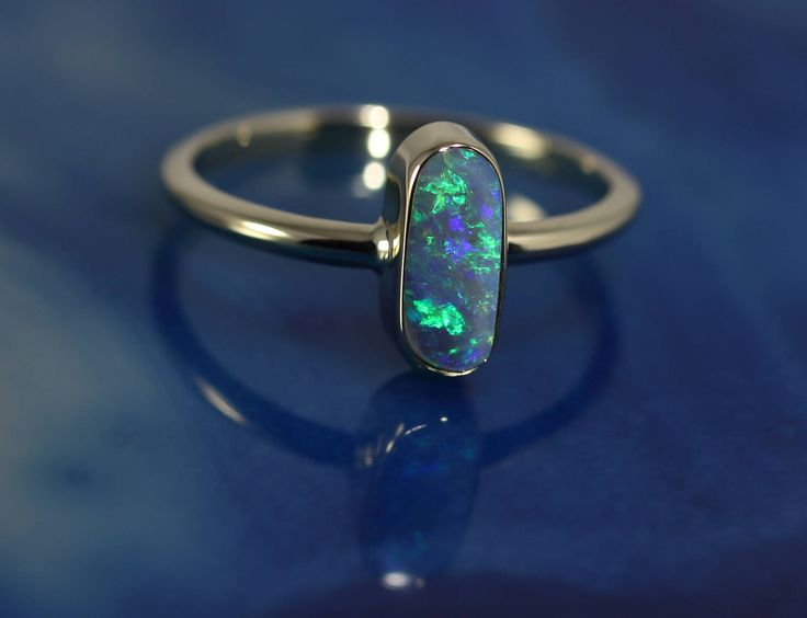 Solid Black Opal Stone set in 14k Solid Gold Ring by DesertFlameOpals on Etsy