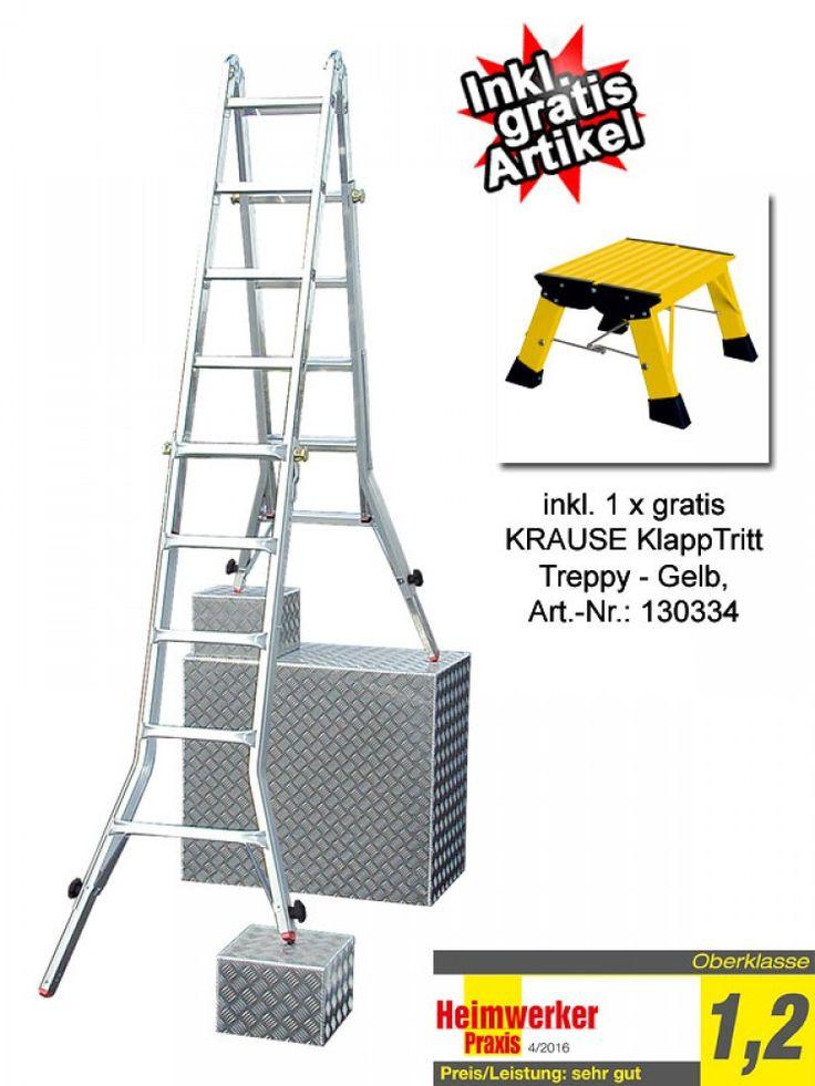 AKTION: KRAUSE TeleVario Gelenkleiter Teleskopleiter 4x5 Sprossen & gratis Klapptritt Gelb