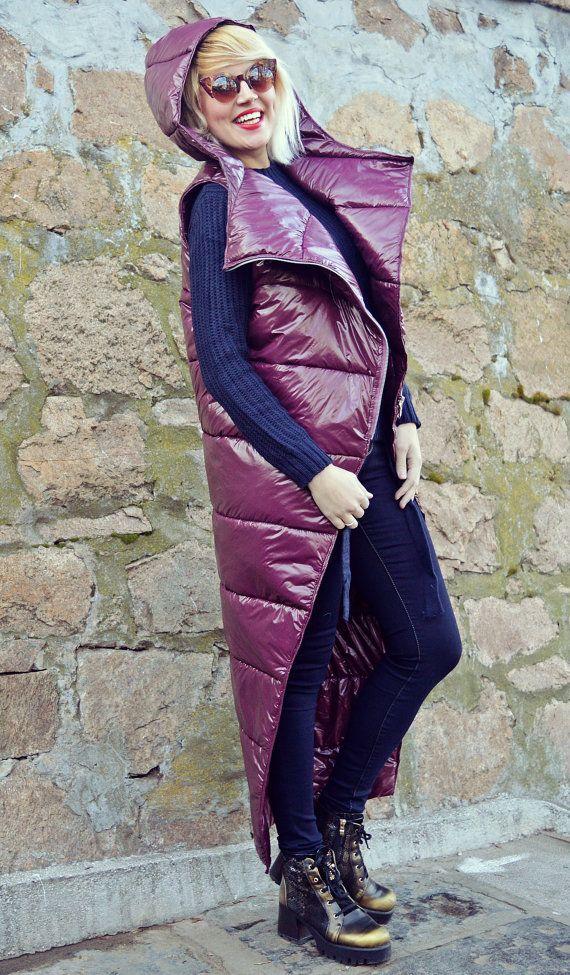 Purple Padded Hooded Vest / Extravagant Hooded Vest / Purple Asymmetrical Vest / Slicker Vest / Extravagant Purple Hoodie TC82 JAZZ UP