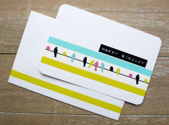 Postcard  Birthday  Birds  Washi Tape  Dymo Label  door psDre, €2.75