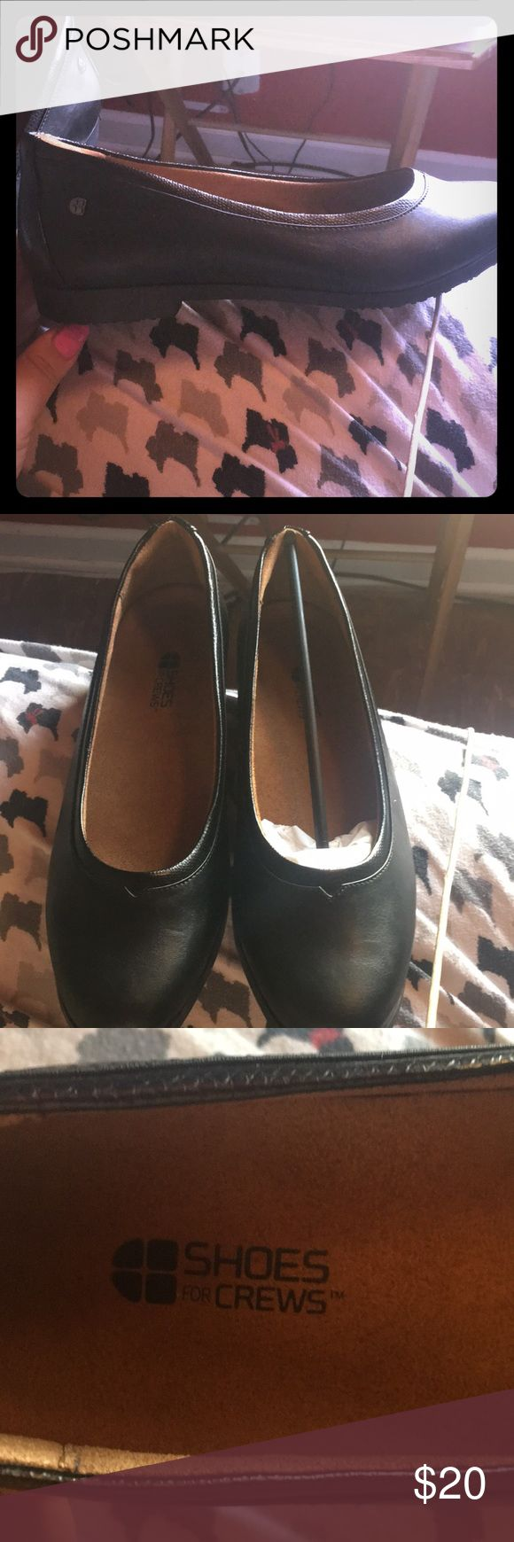 Black Slip Resistant Flats Size 10 Bought off shoes for crews website. New never worn. Slip resistant shoe for work. Very comfy. Black leather Shoes For Crews Shoes Flats & Loafers