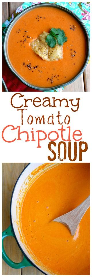 Creamy Tomato Chipotle Soup from NoblePig.com.