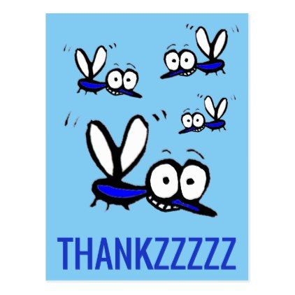 funny cartoon mosquito thank you thankzzz postcard - thank you gifts ideas diy thankyou