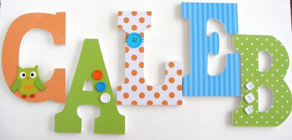Custom Decorated Wooden Letters - ORANGE, BLUE & GREEN Theme - Nursery Bedroom Home Décor, Wall Decorations, Wood Letters, Personalized. $25.00, via Etsy.