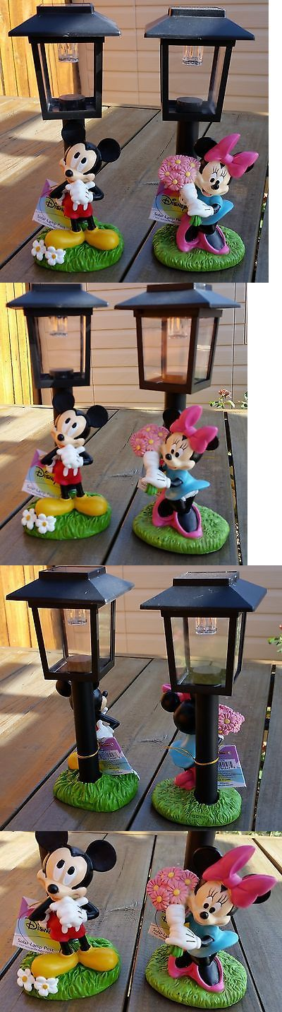 Statues and Lawn Ornaments 29511: Disney Mickey Mouse And Minnie Mouse Solar Lamp Post Garden Statue Outdoor -> BUY IT NOW ONLY: $39.99 on eBay!